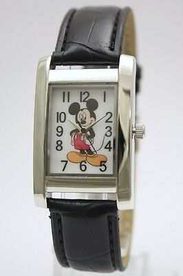 New Mickey Mouse Classic Rectangular Black Leather Band Watch 26 x 40mm MCK835