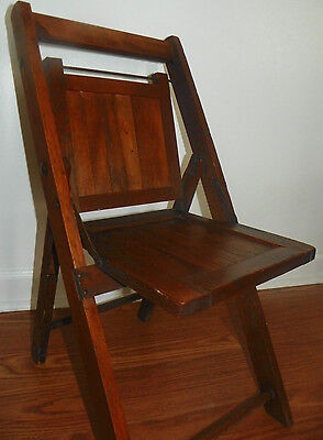 Vintage Child's Children's Wood Wooden Folding Slatted Chair (Early 1900's)