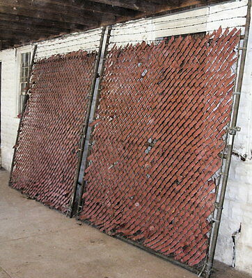 """Two Large Security Chain Link Gates about 92"""" by 93"""" with red web"""