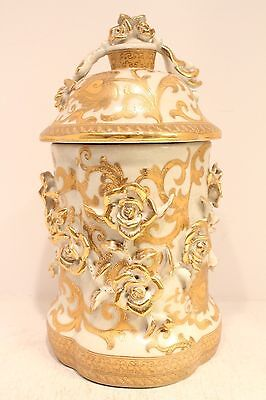 """Unique Beautiful White and Gold Tapestry Porcelain Jar 3D Rose Pattern 11"""""""