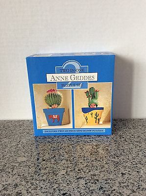ANNE GEDDES TWO IN ONE PUZZLE SET 2 100 PIECE MINI JIGSAW PUZZLE BABY CACTUS POT