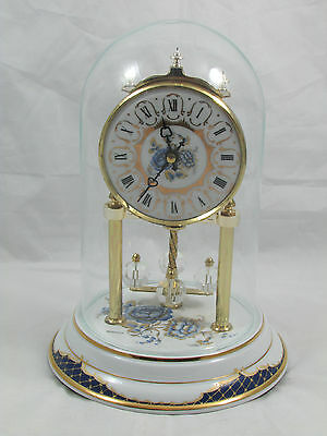 Vintage Bulova Ceramic Brass Mantle Shelf Quartz Clock Made In Germany