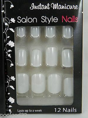 instant manicure salon style solid bright color glue on artificial nails white