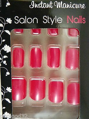 instant manicure salon style solid bright color glue on artificial nails maroon