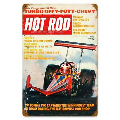 Hot Rod Magazine Turbo Chevy Dragster May 1975 Steel Sign Not Tin