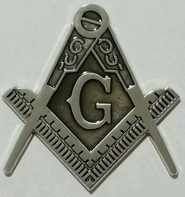 Masonic cut-out car emblem in silver with Black