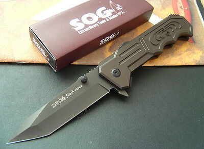 SOG Folding Great Knife NEW k57DF Assisted Opening Embossed Tanto Point aluminum