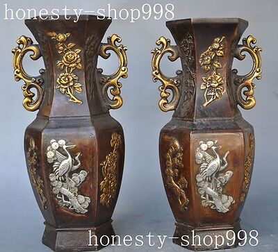 china Dynasty palace bronze gilt silver Crane Flower Bottle Vase Jar Statue pair