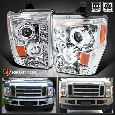 2008-2010 Ford F250 F350 F450 Super Duty LED Projector Headlights Chrome