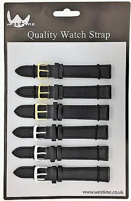 6 x Wholesale Job Lot Extra Long Black Leather watch straps 10mm to 24mm