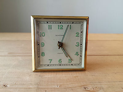 Vintage SENTINEL Mechanical Jewelled Travel Alarm Clock - Made in Germany