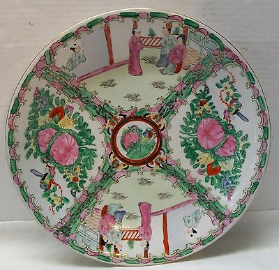 Antique Chinese Rose Medallion Large Serving Plate Men Women Flowers - Signed