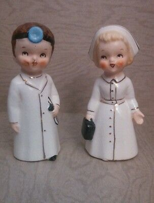 Vintage Lego Japan Doctor Nurse Salt & Pepper Shakers Ceramic No Corks