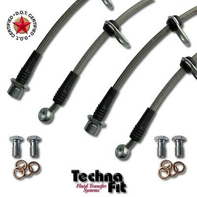 Stainless Steel Braided Brake Line FRONT REAR Set Techna-Fit fits xA xB SCI-1000