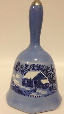 1976 Blue Currier and Ives Porcelain Bell A Home In The Wilderness ~  Vintage