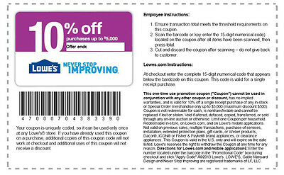US-Nationwid lot of 7 LOWES 10% OFF COUPONS EXPIRES 04-23-2015 Home & Garden Nov
