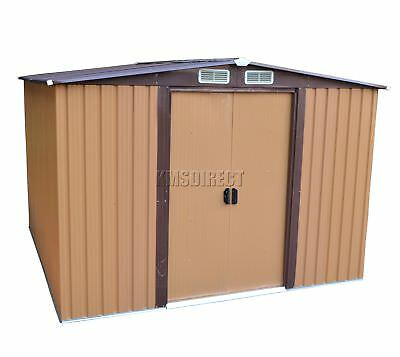 FoxHunter 10 X 8FT Garden Shed Metal Apex Outdoor Storage Free Foundation Coffee