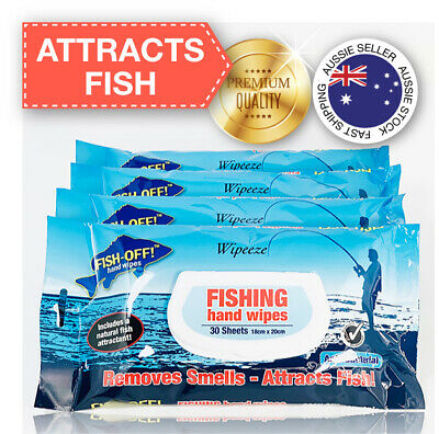 4x Fishing Hand Wipes Remove Smell Attract Fish 30pk Sheet Fish off Freeshipping