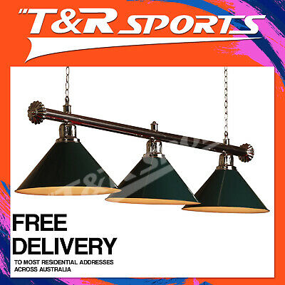 Premium Quality Silver Hollow Rail With Green Heavy Duty Shades Pool Table Light