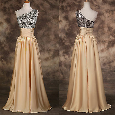 Shining BEADED~One Shoulder 2015 Long Bridesmaid Gown Evening Party Prom Dresses