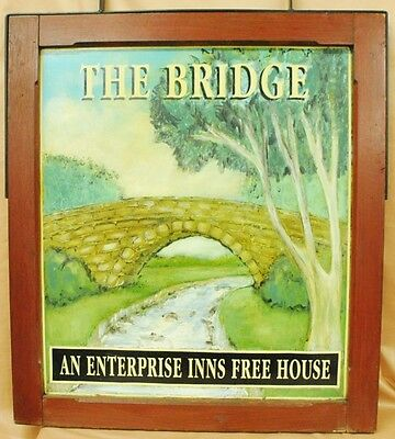 """""""The Bridge"""" Enterprise Inns sign. Hand painted, double sided. Site 27"""" x 31"""", f"""
