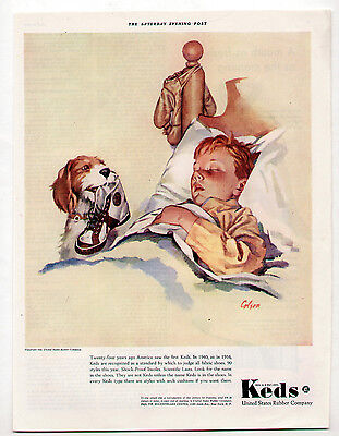 Vintage Keds Sneakers Ad 1940 Artist: Colson/Spaniel Dog w/Shoe for Sleeping Boy