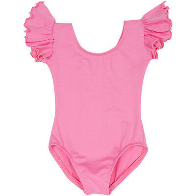 BRIGHT PINK Leotard with Flutter / Ruffle Short Sleeve for Toddler & Girls
