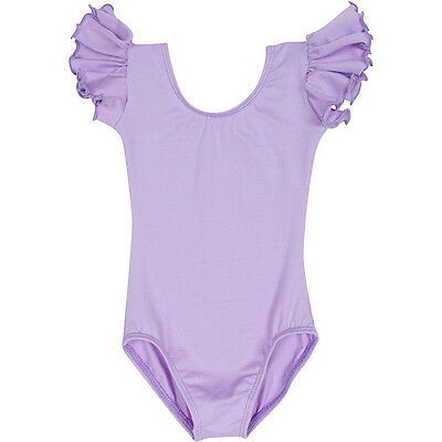 LILAC PURPLE Leotard with Flutter / Ruffle Short Sleeve for Toddler & Girls