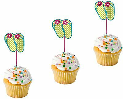 8 Flip Flop Pick Cup Cake Muffin Hawaiian Party Summer Beach Cocktail Food Stick