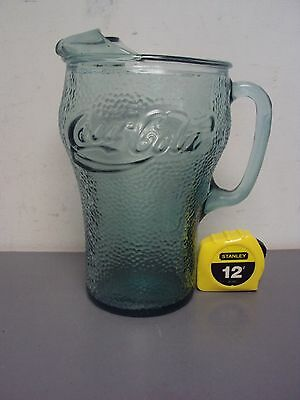 COCA COLA COKE SODA POP WATER DRINK BEVERAGE PITCHER GREEN GLASS DIMPLED VINTAGE