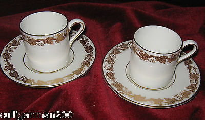 1 - Lot of 2 - Wedgwood Golden Ivy Demi Tasse Coffee Cans (2015-041)