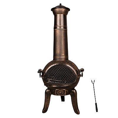 FoxHunter Gold Cast Iron Steel Chimenea Chiminea Chimnea Patio Heater Fire Pit
