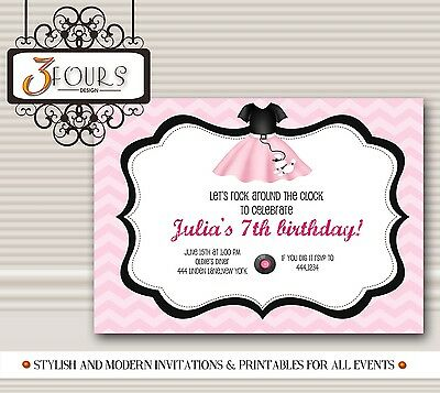 Poodle Skirt Sock Hop Birthday Party Invitations - Printable