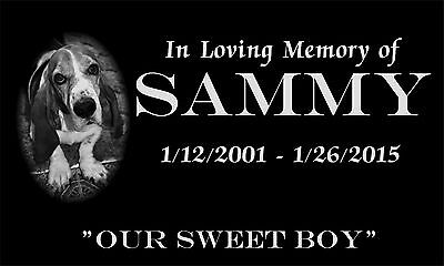 """Personalized Pet Memorial Headstone 6"""" x 12"""" Dog Cat grave marker FREE SHIPPING"""
