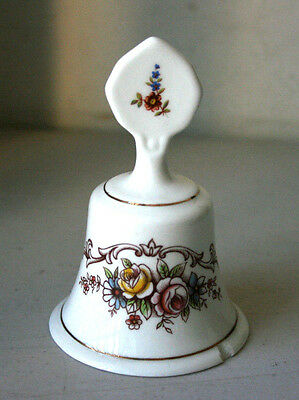 Vintage Staffordshire Fine Bone China White Porcelain Flowers Bell