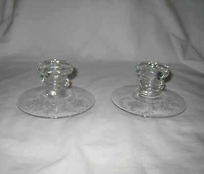 2 Vintage Fostoria Glass Mayflower Single Candlesticks - Clear - Etched Floral