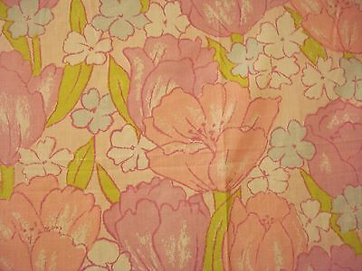 Vtg FULL FLAT Floral Sheet 60s 70s Tulips Poppies PINK Lilac rare retro fabric