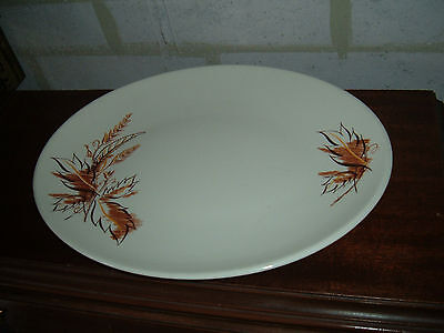 """Edwin M. Knowles 12 5/8"""" Oval Serving Platter Autumn Leaves USA"""