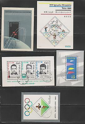 Poland - Group of Used 1960's Souvenir Sheets incl. Olympics & Space