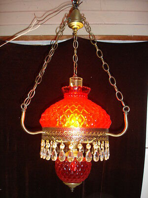 Old Fenton Ruby Red Diamond glass pattern Hanging lamp Chandelier GWTW(1-2)