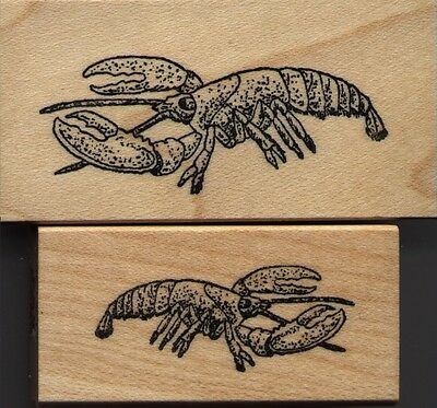 NEW mounted Sea Creatures rubber stamps     Lobster Set of 2