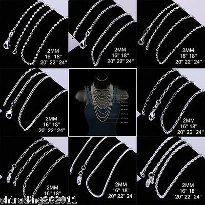 "925 Sterling Silver Plated 2MM Necklace Chains Men Women 16"",18"",20"",22"",24"""