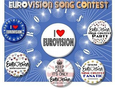 """Eurovision Song Contest Party Badges~ 25 Mm/ 1 """" Fancy Dress Etc."""