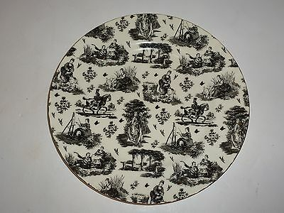 Royale Garden Chintz Collection Dinner Plate, Colonial Figurals, Black/White