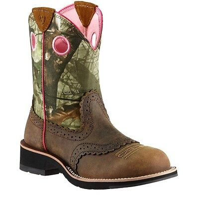 Ariat Ladies Fatbaby Cowgirl Distressed Brown/Mossy Oak 10006854