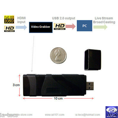 HDMI to USB 2.0 Video Capture Card / Grabber for Live Video Streaming Broadcast