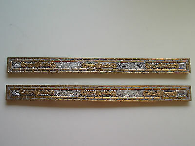 "Vintage Marked Sterling Silver W/ Bronze Overlay 12"" Long x 1"" Plates"
