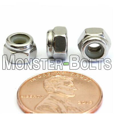 M4-0.7 / 4mm - Qty 50 - Nylon Insert Hex Lock Nut DIN 985 - A2 Stainless Steel