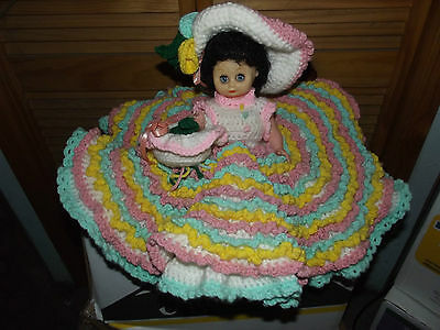 "CROCHETED DOLL 14"" HANDMADE COLLECTABLE CHILDREN WHITE PINK GREEN BASKET HAT 10"
