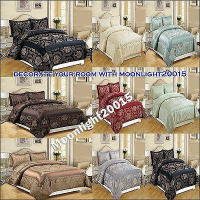 LUXURY 3pcs & 7pcs (piece) Flock Quilted Comforter Set and Bed Spread Bedspread